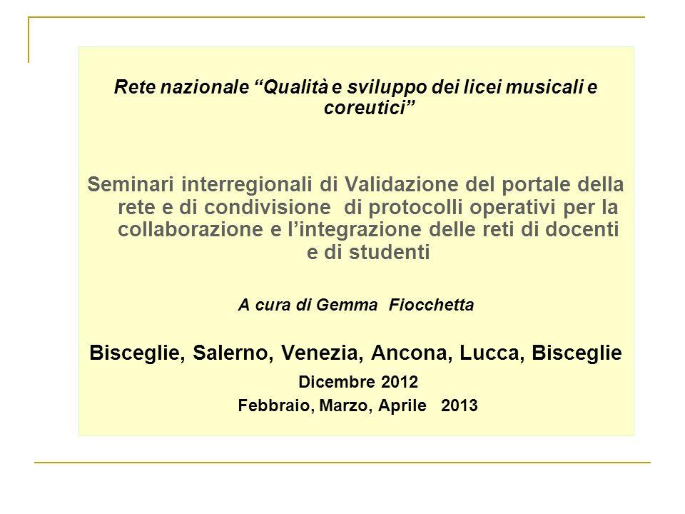 Rete nazionale Qualità e sviluppo dei licei musicali e coreutici Seminari interregionali di Validazione del portale della rete e di condivisione di pr