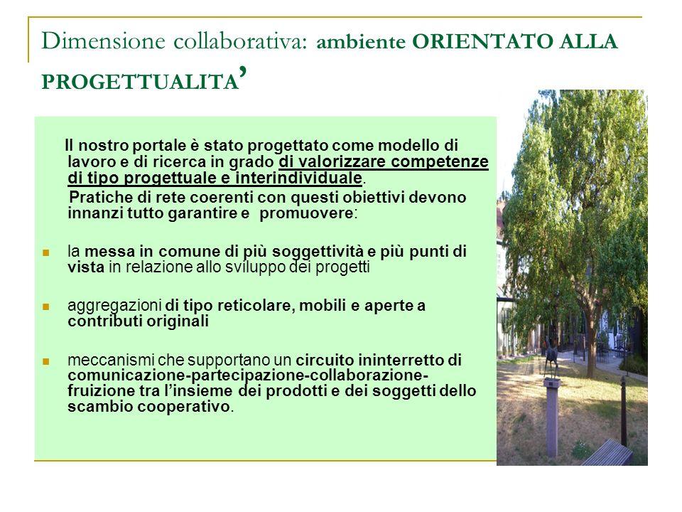 Dimensione collaborativa: ambiente ORIENTATO ALLA PROGETTUALITA Il nostro portale è stato progettato come modello di lavoro e di ricerca in grado di v