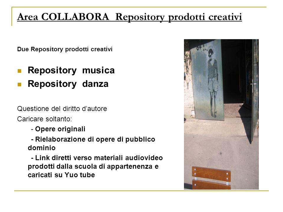 Area COLLABORA Repository prodotti creativi Due Repository prodotti creativi Repository musica Repository danza Questione del diritto dautore Caricare