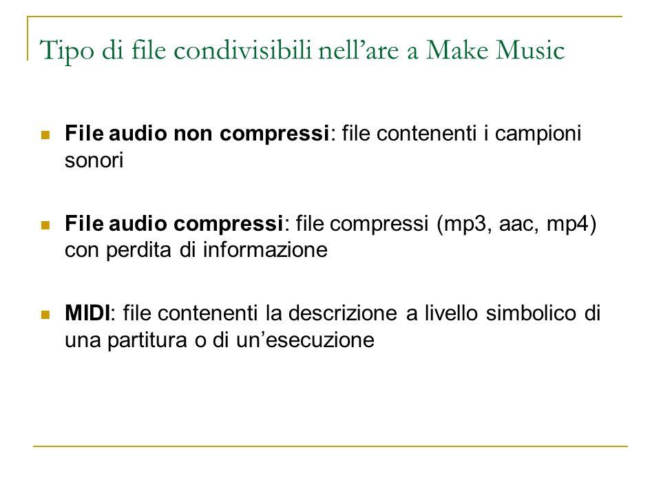 Tipo di file condivisibili nellare a Make Music File audio non compressi: file contenenti i campioni sonori File audio compressi: file compressi (mp3,