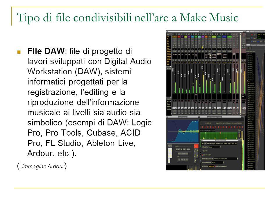 Tipo di file condivisibili nellare a Make Music File DAW: file di progetto di lavori sviluppati con Digital Audio Workstation (DAW), sistemi informati