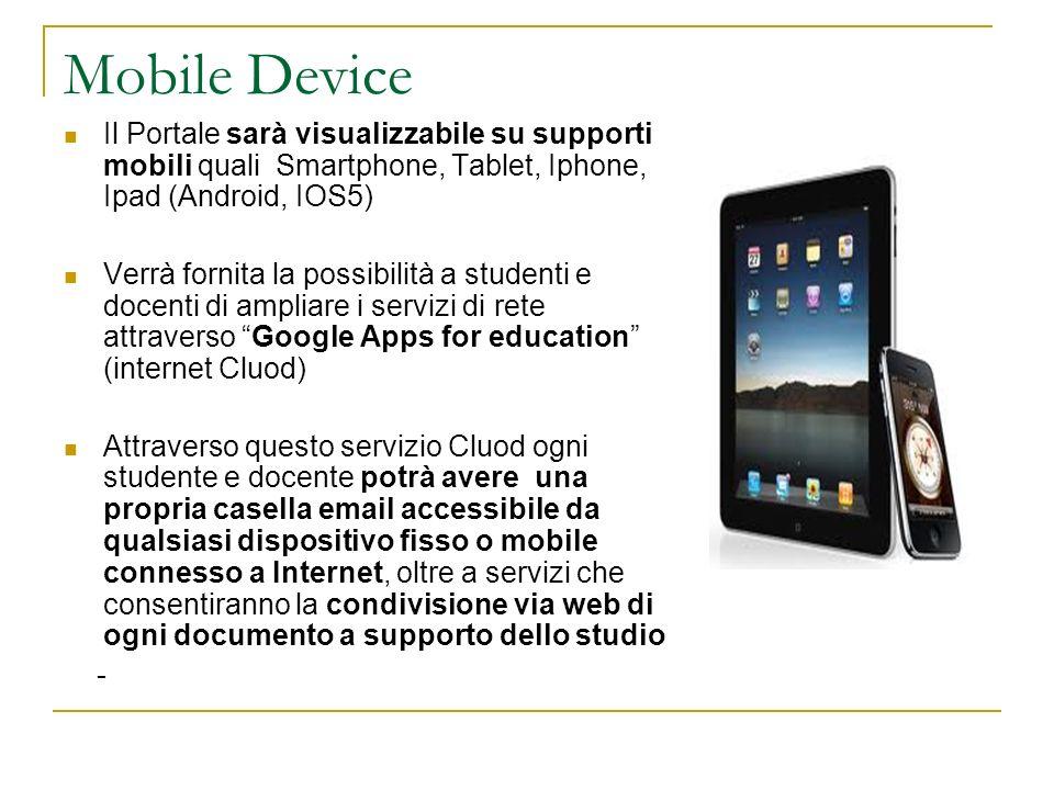 Mobile Device Il Portale sarà visualizzabile su supporti mobili quali Smartphone, Tablet, Iphone, Ipad (Android, IOS5) Verrà fornita la possibilità a