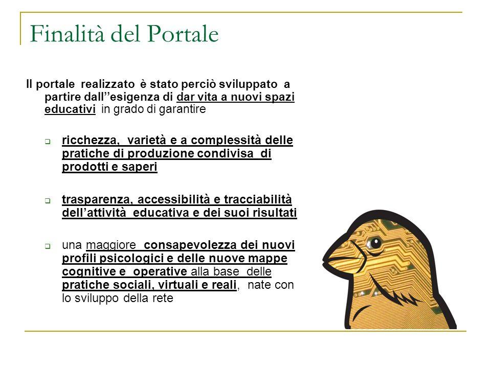 Finalità del Portale Il portale realizzato è stato perciò sviluppato a partire dallesigenza di dar vita a nuovi spazi educativi in grado di garantire