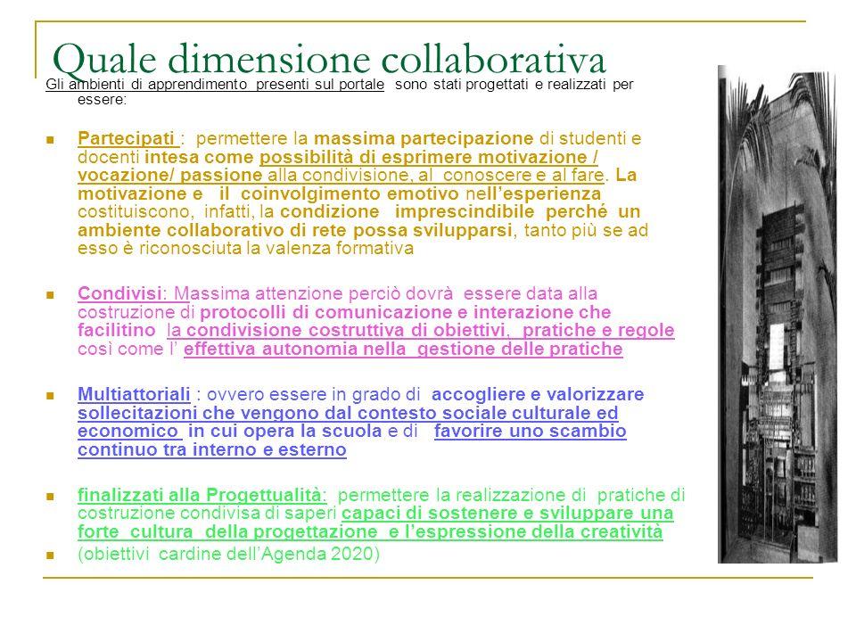Quale dimensione collaborativa Gli ambienti di apprendimento presenti sul portale sono stati progettati e realizzati per essere: Partecipati : permett