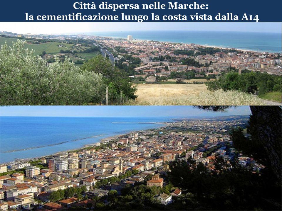 alla fine del 2010 installati nelle Marche pannelli per 184,3 MW di potenza (PEAR: entro 2015 tetto di 60 MW); Toscana 137 MW; dopo la Puglia le Marche sono la Regione con la taglia media più grande: 31,9; Toscana 15,2; Veneto 16,2; Lombardia 16; dopo la Puglia le Marche sono la regione con più KW per Kmq : 19,7; Toscana 6,0; Umbria 8,7; Veneto 17,9; le Marche fra le regioni con la più alta percentuale di pannelli a terra: 50%; Toscana = 36%; a luglio del 2010 lindice di copertura della SAU nelle Marche era 0,86; in Toscana = 0,30; in Umbria = 0,40 Fonte: GSE Gestore nazionale Servizi Energetici