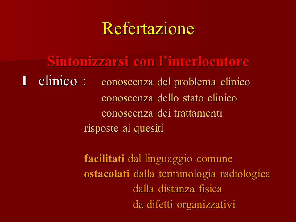 Refertazione Sintonizzarsi con linterlocutore I clinico : conoscenza del problema clinico I clinico : conoscenza del problema clinico conoscenza dello
