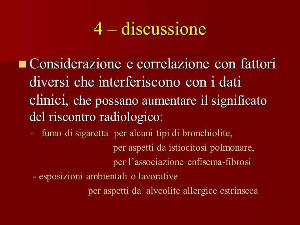 4 – discussione Considerazione e correlazione con fattori diversi che interferiscono con i dati clinici, che possano aumentare il significato del risc