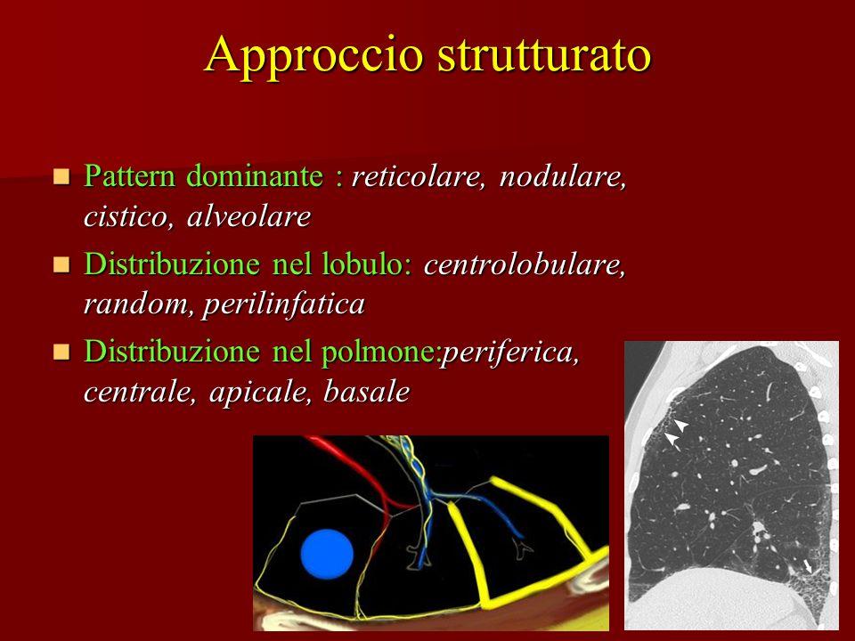 Approccio strutturato Pattern dominante : reticolare, nodulare, cistico, alveolare Pattern dominante : reticolare, nodulare, cistico, alveolare Distri