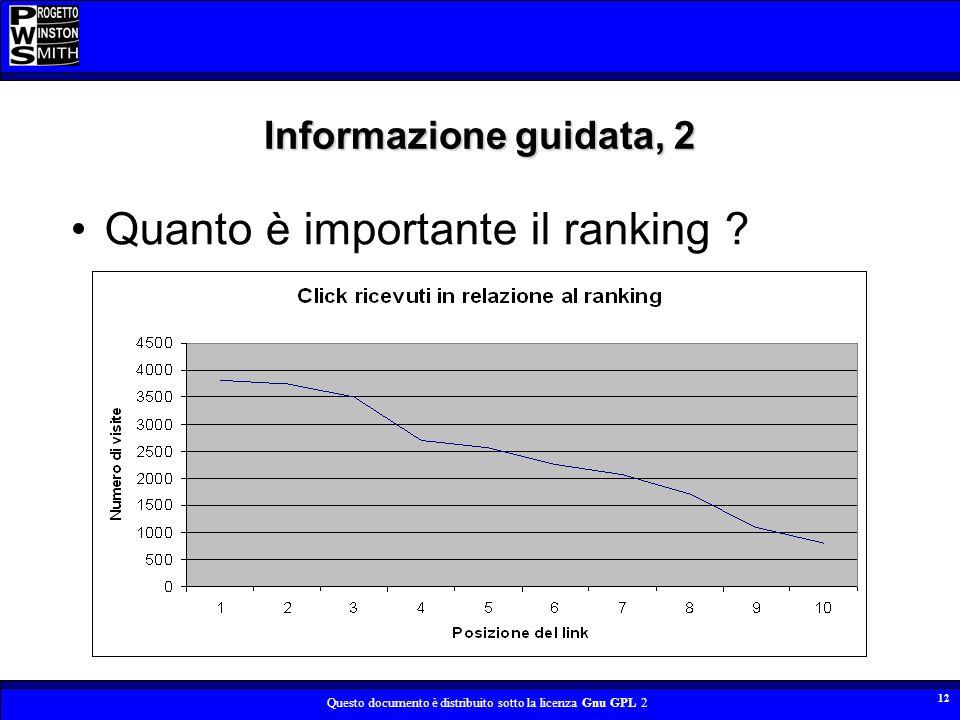 Questo documento è distribuito sotto la licenza Gnu GPL 2 12 Informazione guidata, 2 Quanto è importante il ranking ?