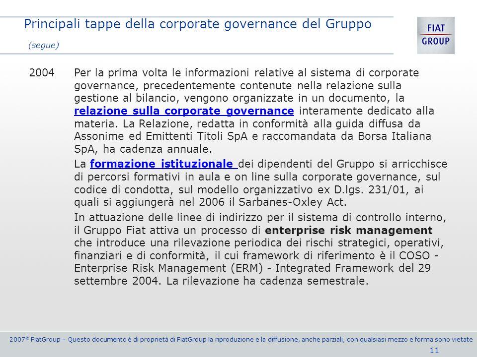 2007 © FiatGroup – Questo documento è di proprietà di FiatGroup la riproduzione e la diffusione, anche parziali, con qualsiasi mezzo e forma sono viet