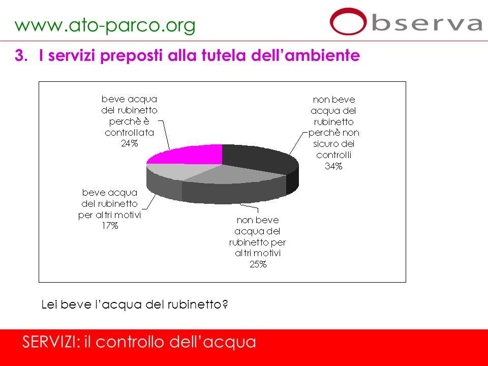 www.ato-parco.org 3.I servizi preposti alla tutela dellambiente SERVIZI: il controllo dellacqua Lei beve lacqua del rubinetto?