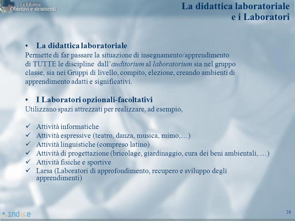 16 La didattica laboratoriale e i Laboratori La didattica laboratoriale Permette di far passare la situazione di insegnamento/apprendimento di TUTTE l