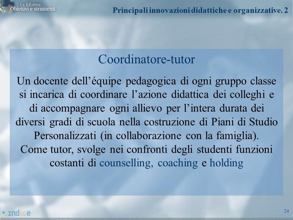 24 Coordinatore-tutor Un docente delléquipe pedagogica di ogni gruppo classe si incarica di coordinare lazione didattica dei colleghi e di accompagnar
