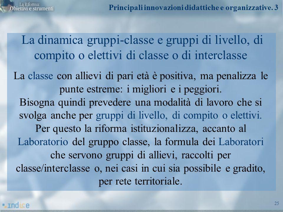25 La dinamica gruppi-classe e gruppi di livello, di compito o elettivi di classe o di interclasse La classe con allievi di pari età è positiva, ma pe