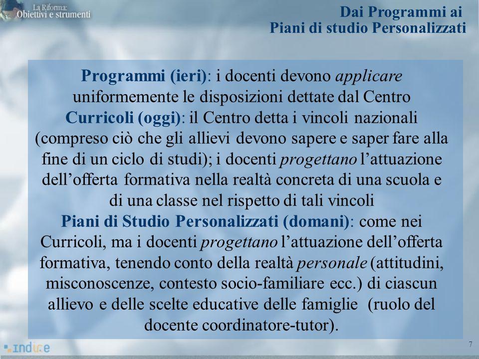 7 Programmi (ieri): i docenti devono applicare uniformemente le disposizioni dettate dal Centro Curricoli (oggi): il Centro detta i vincoli nazionali