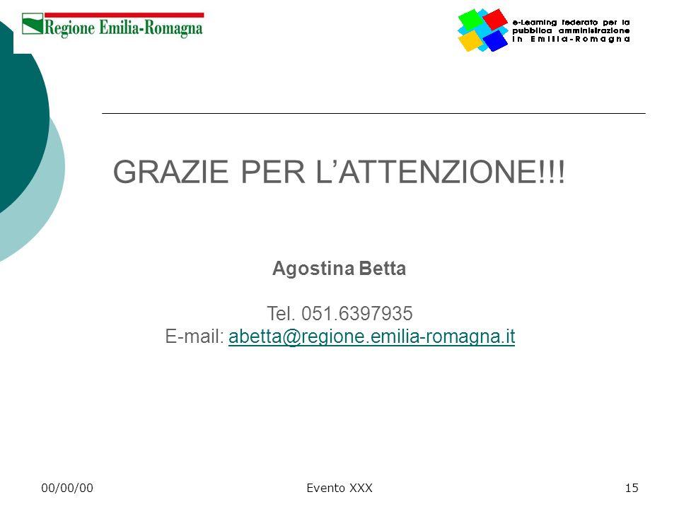 00/00/00Evento XXX15 GRAZIE PER LATTENZIONE!!! Agostina Betta Tel. 051.6397935 E-mail: abetta@regione.emilia-romagna.itabetta@regione.emilia-romagna.i