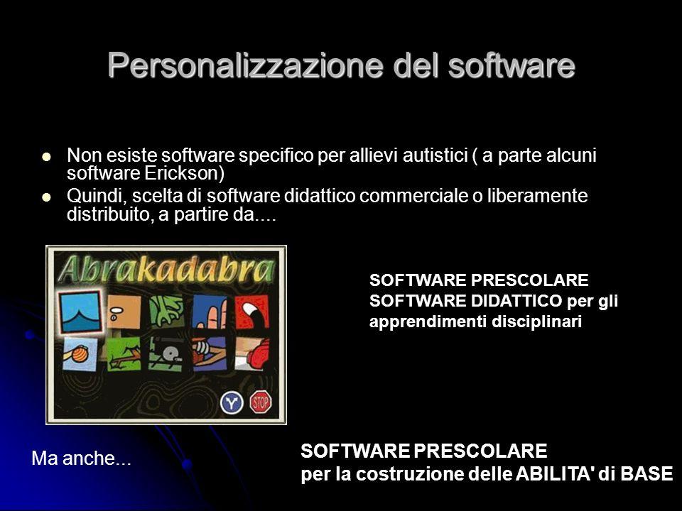 Personalizzazione del software Non esiste software specifico per allievi autistici ( a parte alcuni software Erickson) Quindi, scelta di software dida