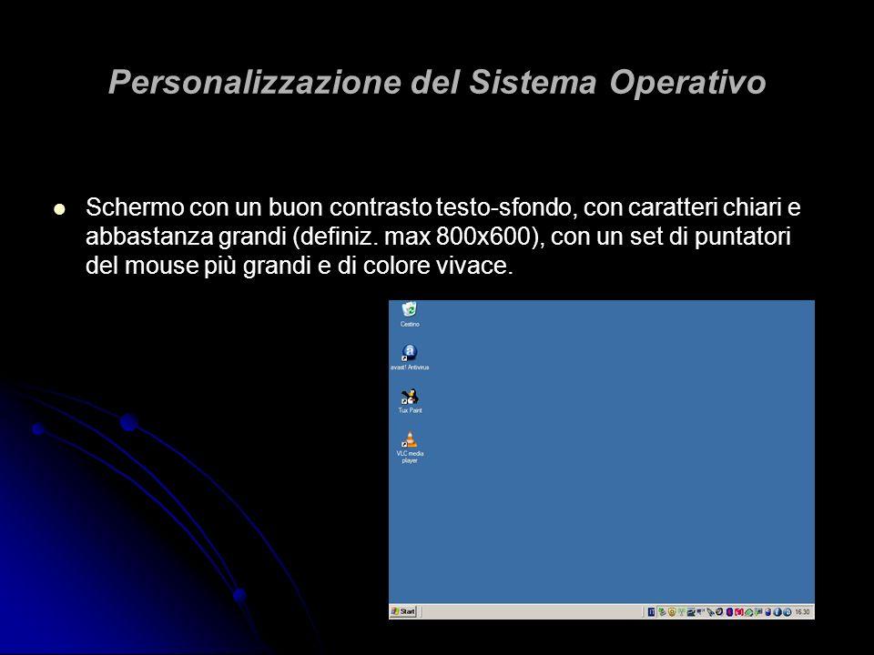 Personalizzazione del Sistema Operativo Schermo con un buon contrasto testo-sfondo, con caratteri chiari e abbastanza grandi (definiz. max 800x600), c