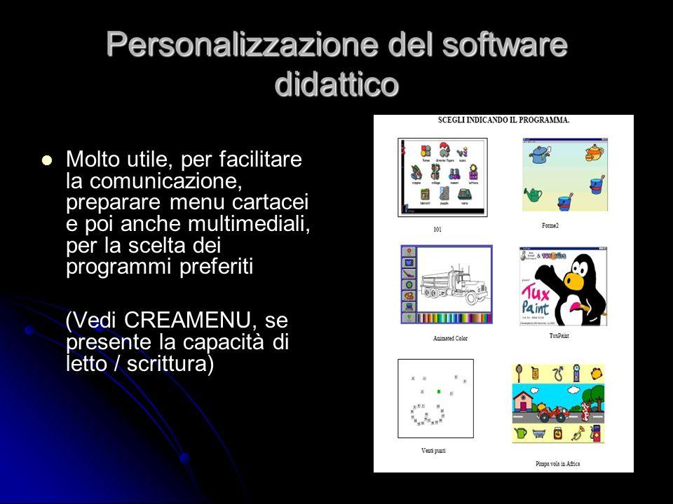 Personalizzazione del software didattico Molto utile, per facilitare la comunicazione, preparare menu cartacei e poi anche multimediali, per la scelta