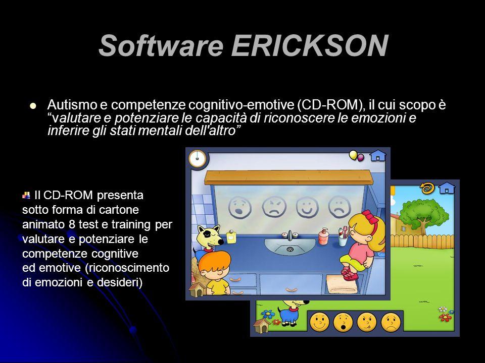 Software ERICKSON Autismo e competenze cognitivo-emotive (CD-ROM), il cui scopo è valutare e potenziare le capacità di riconoscere le emozioni e infer