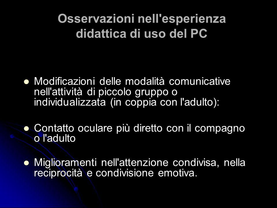 Osservazioni nell'esperienza didattica di uso del PC Modificazioni delle modalità comunicative nell'attività di piccolo gruppo o individualizzata (in