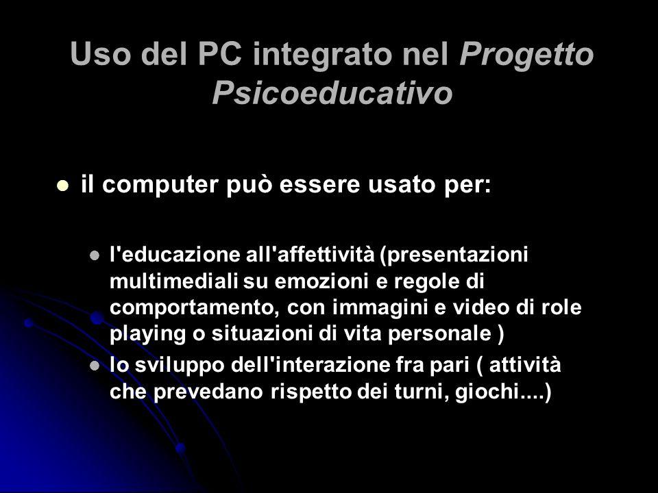 Uso del PC integrato nel Progetto Psicoeducativo il computer può essere usato per: l'educazione all'affettività (presentazioni multimediali su emozion