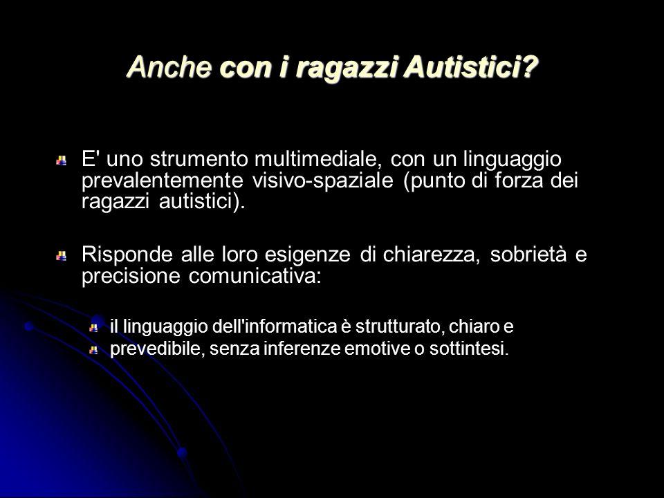 Anche con i ragazzi Autistici? E' uno strumento multimediale, con un linguaggio prevalentemente visivo-spaziale (punto di forza dei ragazzi autistici)