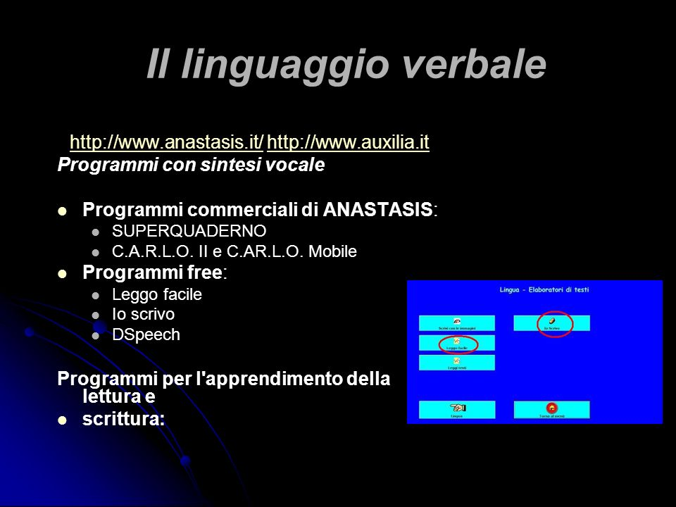 Il linguaggio verbale http://www.anastasis.it/http://www.anastasis.it/ http://www.auxilia.ithttp://www.auxilia.it Programmi con sintesi vocale Program