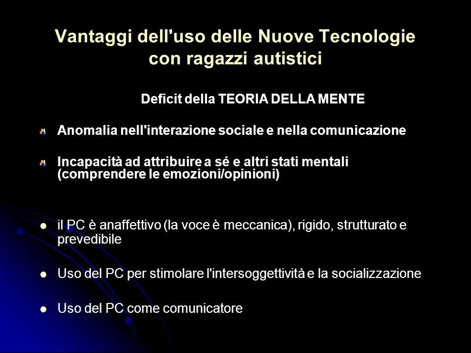 Vantaggi dell'uso delle Nuove Tecnologie con ragazzi autistici Deficit della TEORIA DELLA MENTE Anomalia nell'interazione sociale e nella comunicazion