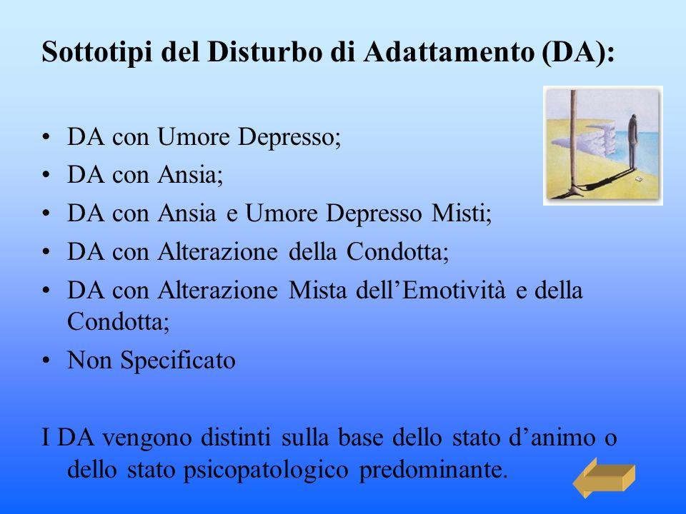 Sottotipi del Disturbo di Adattamento (DA): DA con Umore Depresso; DA con Ansia; DA con Ansia e Umore Depresso Misti; DA con Alterazione della Condott