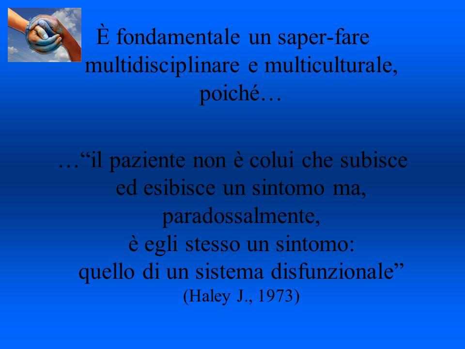 È fondamentale un saper-fare multidisciplinare e multiculturale, poiché… …il paziente non è colui che subisce ed esibisce un sintomo ma, paradossalmen