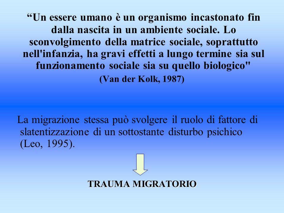 Un essere umano è un organismo incastonato fin dalla nascita in un ambiente sociale. Lo sconvolgimento della matrice sociale, soprattutto nell'infanzi