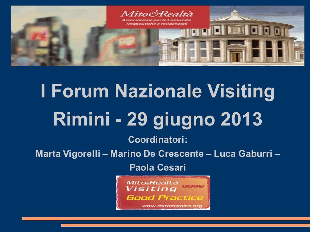 I Forum Nazionale Visiting Rimini - 29 giugno 2013 Coordinatori: Marta Vigorelli – Marino De Crescente – Luca Gaburri – Paola Cesari