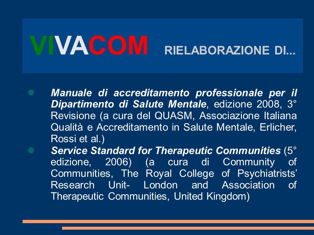 VIVACOM RIELABORAZIONE DI... Manuale di accreditamento professionale per il Dipartimento di Salute Mentale, edizione 2008, 3° Revisione (a cura del QU