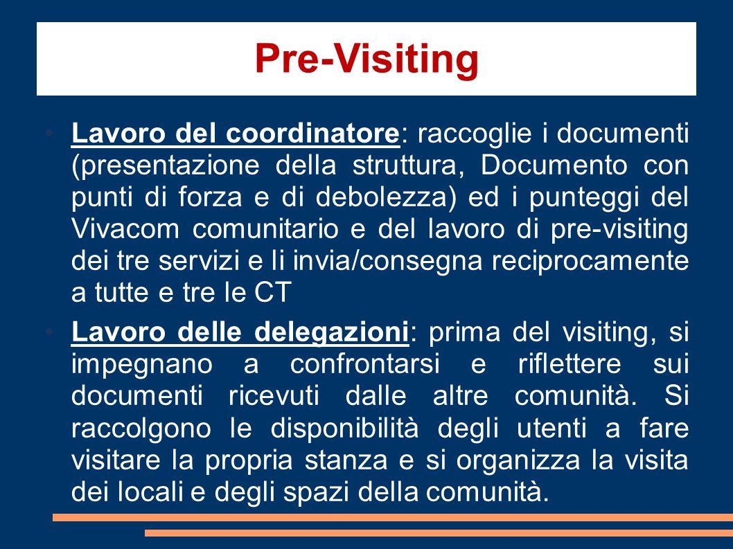 Pre-Visiting Lavoro del coordinatore: raccoglie i documenti (presentazione della struttura, Documento con punti di forza e di debolezza) ed i punteggi