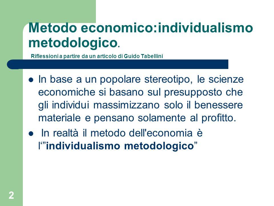 2 Metodo economico:individualismo metodologico.