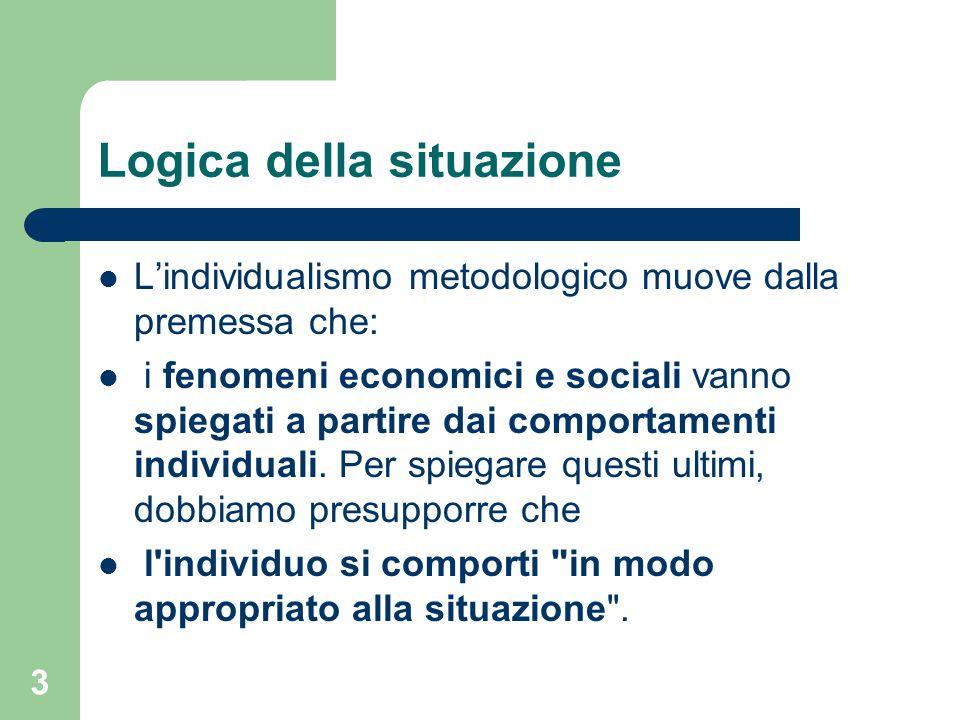 3 Logica della situazione Lindividualismo metodologico muove dalla premessa che: i fenomeni economici e sociali vanno spiegati a partire dai comportamenti individuali.