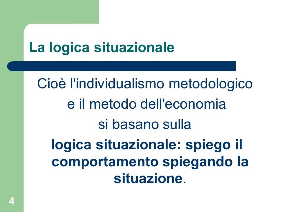 4 La logica situazionale Cioè l individualismo metodologico e il metodo dell economia si basano sulla logica situazionale: spiego il comportamento spiegando la situazione.