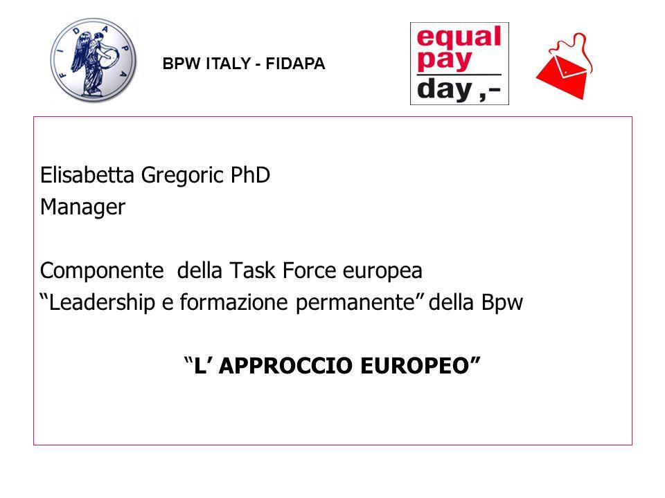 Elisabetta Gregoric PhD Manager Componente della Task Force europea Leadership e formazione permanente della Bpw L APPROCCIO EUROPEO BPW ITALY - FIDAP