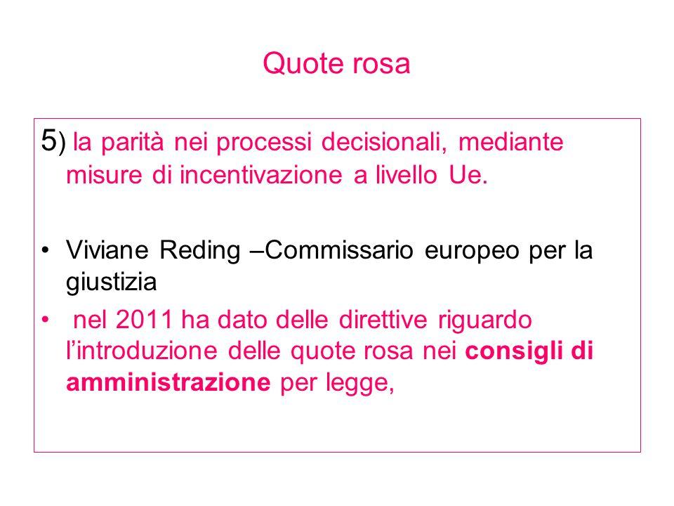Quote rosa 5 ) la parità nei processi decisionali, mediante misure di incentivazione a livello Ue. Viviane Reding –Commissario europeo per la giustizi