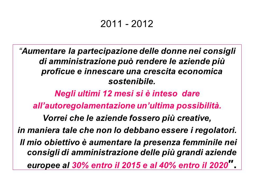 2011 - 2012 Aumentare la partecipazione delle donne nei consigli di amministrazione può rendere le aziende più proficue e innescare una crescita econo