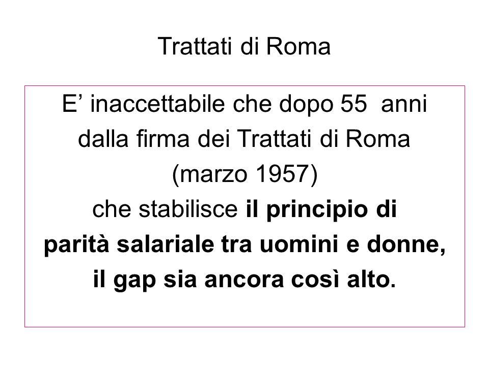Trattati di Roma E inaccettabile che dopo 55 anni dalla firma dei Trattati di Roma (marzo 1957) che stabilisce il principio di parità salariale tra uo
