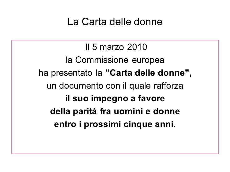 La Carta delle donne Il 5 marzo 2010 la Commissione europea ha presentato la