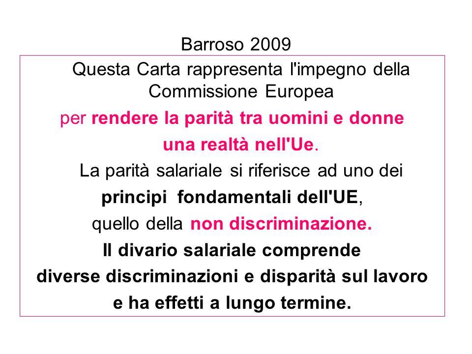 Barroso 2009 Questa Carta rappresenta l'impegno della Commissione Europea per rendere la parità tra uomini e donne una realtà nell'Ue. La parità salar