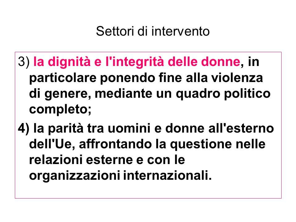 Settori di intervento 3) la dignità e l'integrità delle donne, in particolare ponendo fine alla violenza di genere, mediante un quadro politico comple