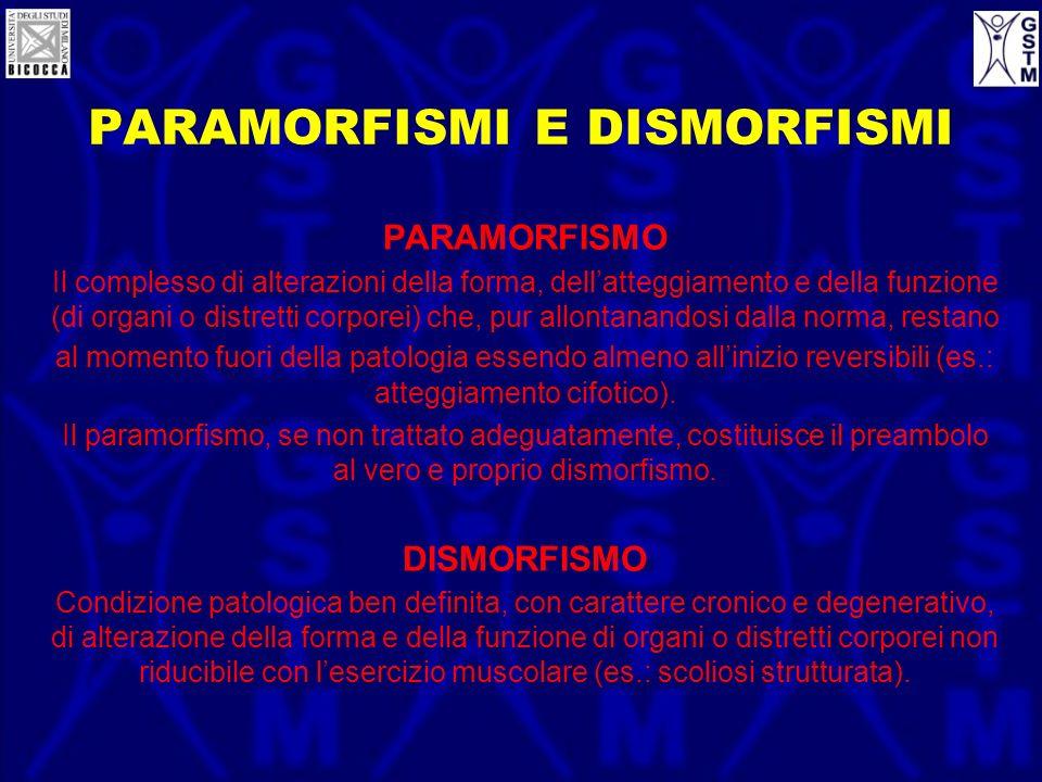 PARAMORFISMI E DISMORFISMI PARAMORFISMO Il complesso di alterazioni della forma, dellatteggiamento e della funzione (di organi o distretti corporei) c