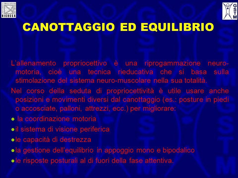 CANOTTAGGIO ED EQUILIBRIO Lallenamento propriocettivo è una riprogammazione neuro- motoria, cioè una tecnica rieducativa che si basa sulla stimolazion