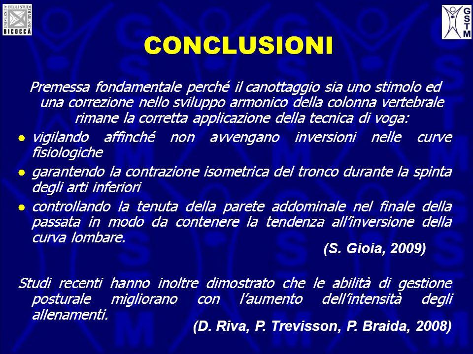 CONCLUSIONI Premessa fondamentale perché il canottaggio sia uno stimolo ed una correzione nello sviluppo armonico della colonna vertebrale rimane la c