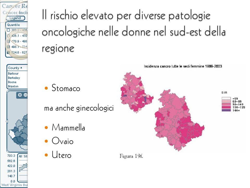 Il rischio elevato per diverse patologie oncologiche nelle donne nel sud-est della regione Stomaco ma anche ginecologici Mammella Ovaio Utero