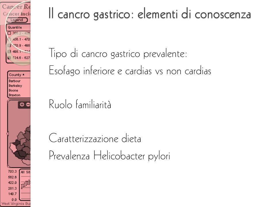 Il cancro gastrico: elementi di conoscenza Tipo di cancro gastrico prevalente: Esofago inferiore e cardias vs non cardias Ruolo familiarità Caratteriz